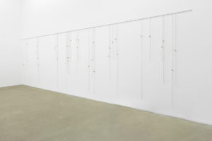 <i>morgenlied (iv)</i>, 2012</br>steel, brass hooks</br>205 x 750 cm / 80.7 x 295.3 in