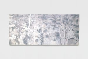 workers, 2005, gouache on wood, 70 x 163 cm / 27.5 x 64.2 in