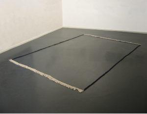 <i>Frame (dark blue)</i>, 2010 </br> frame of traditional carpet, 250 × 350 cm / 98.4 x 137.5 in </br> installation view, fri art, fribourg