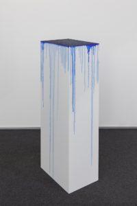 <i>à chaque stencil une revolution, une après l'autre</i>, 2009-2014 </br> carbon paper and alcohol on mdf pedestal </br> 86 x 21 x 29,7 cm / 33.8 x 8.2 x 11.6 in