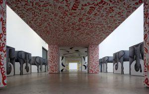 <i>dinner for 24 elephants</i>, 2011 </br> installation view, the modern institute, glasgow