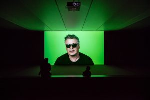 love story, 2016, 7-Channel Installation: 7 Hard Drives Featuring Alec Baldwin and Julianne Moore Commissioned by the National Gallery of Victoria (Melbourne), Outset Germany + Medienboard Berlin-Brandenburg. Installation View: South African Pavilion, Venice Biennale 2017  Courtesy: Goodman Gallery (Johannesburg), Kaufmann Repetto (Milan) + KOW (Berlin), photo by Andrea Rossetti