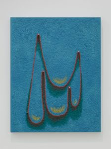 <i>untitled</I>, 2018 </br> oil on canvas with wooden dowels </br> 76,2 x 59,7 x 4,5 cm / 30 x 23.5 x 1.7 in