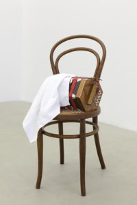 <i>fantocce</i>, 2011</br>chair, harmonica, textile</br>80 x 43 x 43 cm / 31.5 x 16.9 x 16.9 in