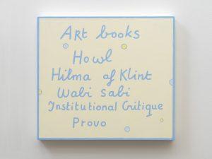 art books, 2019 acrylic paint on wood, 35,9 x 39,9 x 4 cm / 14.1 x 15.7 x 1.6 in