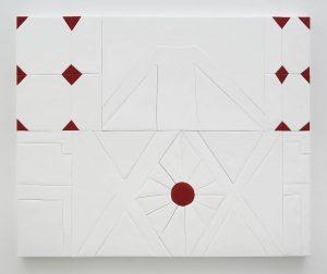 <i>stand</i>, 2016 </br> medite, aqua resin, casein and acrylic, 139,7 x 170,2 cm / 55 x 67 in </br> installation view, collezione maramotti, reggio emilia