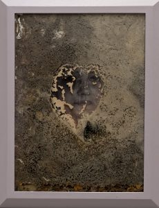 <I>laura's great great grandmother</I>, 2011 </br> incised plastic with printed image, sourdough, glass, wood </br> 119 x 92,5 cm / 46.8 x 36.4 in