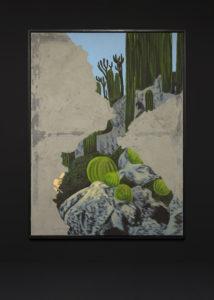 <i>sans titre (le jardin exotique)</i>, 2018 </br> acrylic paint and concrete on canvas </br> 206 x 156 cm / 81.1 x 61.4 in </br> installation view, villa sauber, nouveau musée national de monaco, monaco