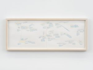 i have f25,- in my pocket (design for wall painting), 2001-19 color pencil on paper, 24,6 x 63 x 1,9 cm / 9.7 x 24.8 x 0.8 in (framed)
