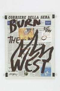 <i>Corriere della sera (20.09.2012)</i>, 2012 </br> molotov marker on paper, 47 x 35 cm / 18.5 x 13.8 in