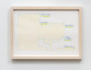 supermarket (design for wall painting) (spinal surgery etc.), 2019 color pencil on paper, 24,7 x 33,5 x 1,9 cm / 9.7 x 3.2 x 0.8 in (framed)