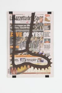 <i>la gazzetta dello sport (20.09.2012)</i>, 2012 </br> molotov marker on paper,  41 x 31,5 cm / 16.1 x 12.4 in