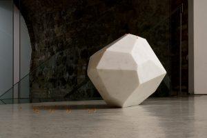 <i>Divoratore di spazio</i>, 2008 </br> white marble, spheres of various materials