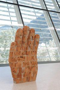 <i>hand 2</i>, 2016  </br> bricks and cement, 130 x 80 x 34 cm / 51.2 x 31.5 x 13.4 in </br> installation view, museion, bolzano