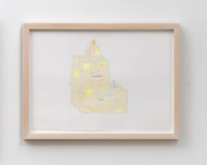 godanti (design for object, ca. 3,5 m. height), 2019 color pencil and pen on paper, 24,7 x 33,5 x 1,9 cm / 9.7 x 13.2 x 0.8 in (framed)