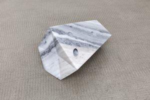 <i>impugnare il giorno (to grab the day)</i>, 2019 </br> alabaster, silver pigment, 19 x 29 x 20 cm / 7.5 x 11.4 x 7.9 in