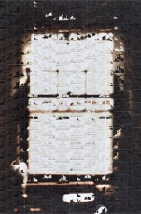 <I>looking for time (window in quogue)</I>, 2007 </br> layered cut out photographs, 100 x 150 cm / 39.4 x 59 in