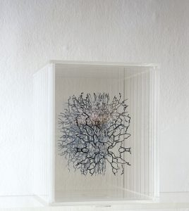 <I>floating body</I>, 2006 </br> plexiglas, cut out photographs, 25 x 20 x 20 cm / 9.8 x 7.9 x 7.9 in