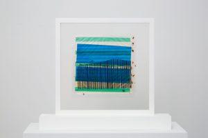 <i>los alamos</i>, 1958 </br> mixed media on gloss transparent sheet, 24 x 24 cm / 9.4 x 9.4 in