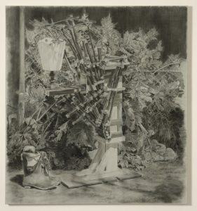 <i>geometra</i>, 2009 </br> charcoal on canvas, 135 x 125 cm / 53.1 x 49.2 in