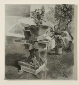 untitled, 2009, charcoal on canvas, 86 x 83 cm / 33.8 x 32.7 in