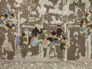 <i>crowd fade</i>, 2017 </br> paint, plaster, concrete, variable dimensions </br> installation view, 15th istanbul biennial, istanbul modern, istanbul
