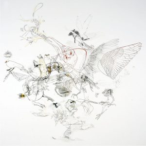 <I>bird people</I>, 2004 </br> cut out photographs, 200 x 200 cm / 78.7 x 78.7 in