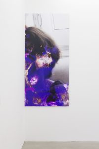 <I>maggie here (maggie there)</I>, 2012 </br> digital photo print, bleach, muriatic acid, alcohol, hydrogen peroxide </br>  mouthwash, silver cleaner </br> 270 x 127 cm / 106.3 x 50 in