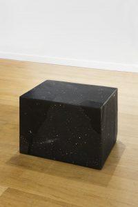 <i>sostanza incerta</i>, 2015 </br> black marquinia marble, inkjet print, 50 x 60 x 60 cm / 20 x 23.6 x 23.6 in