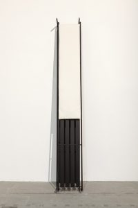 <i>that is the last item on this list: a glass of anger, </i> 2015 </br> steel, lacquer, futon </br>280 x 42 x 64 cm / 110.2 x 16.5 x 25.1 in </br>   installation view, 56th biennale di venezia, venice