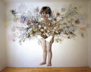 <i>laura's inheritance</I>, 2003 </br> cut out photographs, 400 x 530 x 27 cm / 157.5 x 208.7 x 10.6 in