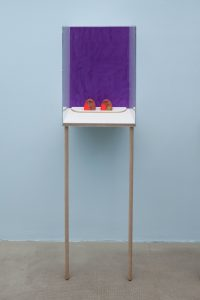 <i>untitled</I>, 2015 </br> gouache and watercolour on paper, flashe, string, uv plexiglass, maple </br> 161,3 x 46,7 x 37,9 cm / 63.5 x 18.4 x 14.9 in