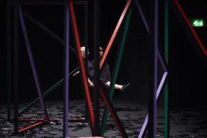 a setup, eva rothschild & joe moran, installation view of fig-2 exhibition at ica theatre, 2015