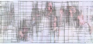 <I>august 10</I>, 2001 </br> cut out photographs, 250 x 120 cm / 98.4 x 47.2 in