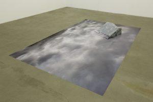 <i>sotto la superficie, la verità della concretezza (under the surface, the truth of concreteness) (Alpi)</i>, 2013 </br> print on blueback paper, bordiglio nuvolato marble,  21 x 265 x 160 cm / 8.3 x 104.3 x 63 in
