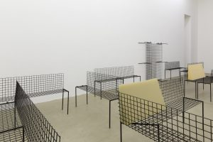 <i>untitled,</i> 2013 </br>  14 benches, steel, foam, variable dimensions