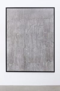 <i>there's tears / as long as there are crises in their own countries and desperation and despair, they will look to europe</i>, 2015</br>ink, blank newspaper on canvas, wooden frame</br>206 x 156 x 4,5 cm