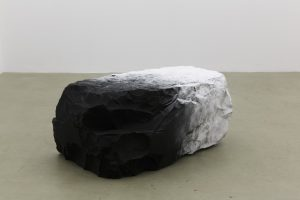 <i>il mistero nascosto da una nuvola (the mistery hidden by a cloud)</i>, 2013 </br> belgian black marble, powdered sugar,  52 x 68 x 112 cm / 20.5 x 26.8 x 44.1 in