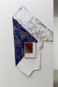 <i>untitled,</i> 2013 </br> carpet, paint on plaster, glass </br>  225 x 121 x 5 cm / 88.5 x 47.6 x 1.9 in