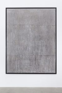 <i>there's tears / we're trying not to get too worried but of course the pictures that are emerging out, we're trying not to look at them</i>, 2015</br>ink, blank newspaper on canvas, wooden frame</br>206 x 156 x 4,5 cm