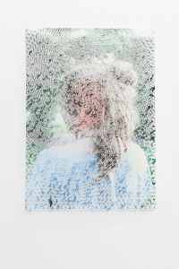 laura, the throbbing pink spot, and the mysterious yellow light, 2012, cut-out photograph, spray paint, nails, 90 × 60 cm / 35.4 x 23.6 in