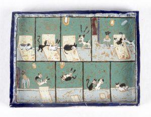 <i>amigos gatos y perros</i>, 1997 </br> glazed ceramic, 22,8 x 17,8 x 2,5 cm / 9 x 7 x 1 in