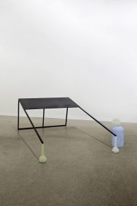 <i>untitled</i>, 2013 </br> steel, lacquer, wood, glass, vinyl paint </br> 74 x 120 x 258 cm / 29.1 x 47.2 x 101.5 in </br>