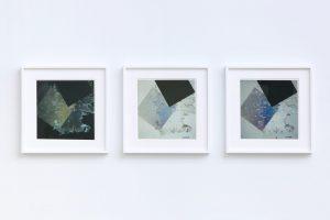<i>composizione a luce polarizzata n.3</i>, 1953-60 </br> polarized light photograph, 3 pieces, 30,7 x 30 cm / 12.1 x 11.8 in (each)