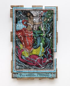 """<i>tell somebody it happened, the god of the sea is a sexual harasser (originally from """"the faerie queene"""",</br>book iii, part vii, illustrated by walter crane, 1895 - 1897)</i>, 2018</br>acrylic marker on cardboard</br>187.96h x 121,92 x 13,97 cm / 74 x 48 x 5.5 in"""