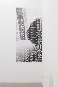 <I>maggie there (maggie here)</I>, 2012 </br> cut out photograph, 270 x 127 cm / 106.3 x 50 in