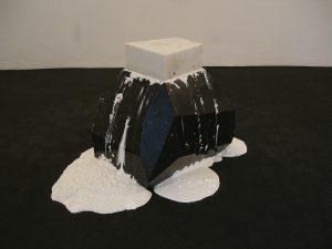 <i>spreco di energia assoluta (absolute waste of energy)</i>, 2006 </br> aluminum, statuary marble, cream, red lentils, 50 x 50 x 80 cm / 19.7 x 19.7 x 27.5 in