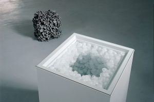 <i>my brain and thought</i>, 2003-04 </br> freezer, plexiglass, ice,  60 x 60 x 100 cm / 23.6 x 23.6 x 39.3 in