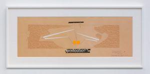 <i>ricostruzione teorica di un oggetto immaginario (theoretical reconstruction of an imaginary object)</i>, 1969 </br> collage on paper, 35 x 100 cm / 13.8 x 39.4 in