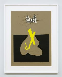 <i>ricostruzione teorica di un oggetto immaginario </br>(theoretical reconstruction  of an imaginary object)</i>, 1971 </br> collage and india ink on cardboard, 79 x 60 cm / 31.1 x 23.6 in